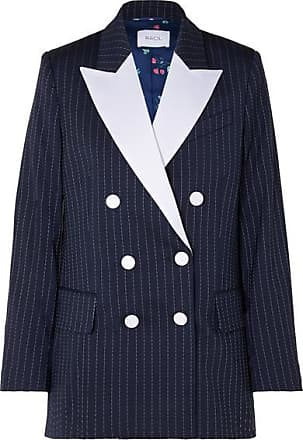 Racil Casablanca Double-breasted Satin-trimmed Striped Wool-blend Crepe Blazer - Midnight blue