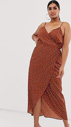 Asos Curve ASOS DESIGN Curve - Vestito lungo a portafoglio con spalline sottili a pois-Multicolore