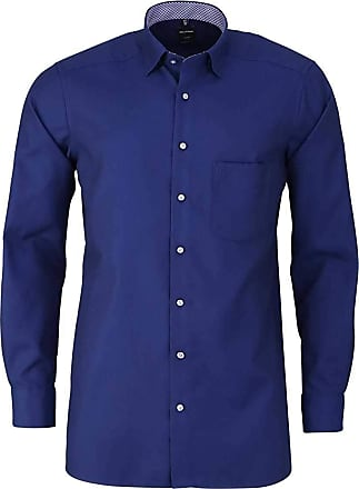 Olymp Luxor Modern Fit Shirt Long Sleeve Under Button Down Collar Night Blue - Blue - 44