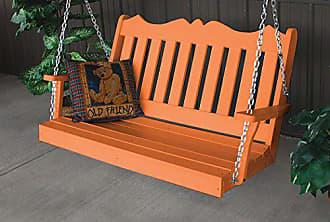 A & L Furniture A & L Furniture 865-O Orange Poly Royal English Porch Swing, Orange