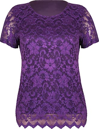 Purple Hanger Womens Short Sleeve Ladies Stretch Round Scoop Neckline Lined Floral Lace Blouse T-Shirt Top Plus Size Purple 26-28