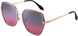 JIM HALO Oversized Polarized Sunglasses for Women Polygon Designer Shades UV400 (Purple Gold Frame/Gradient Grey Pink Lens)
