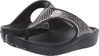 Crocs Sloane Metal Text Flip (Gunmetal/Black) Womens Sandals