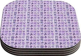 KESS InHouse Marianna TankelevichCute Birds Purple Pink Lavender Coasters, 4 by 4-Inch, Purple, Set of 4