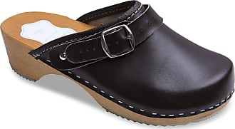 FUTURO FASHION Womens Healthy Natural Genuine Leather Wooden Sole Plain Clogs Unisex Colours Sizes 3-8 UK Brown