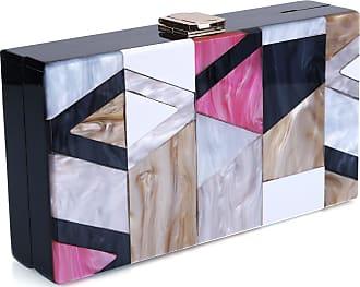 YYW Acrylic Clutch Purse Perspex Box Handbags for Women Colorful Geometry Desiger