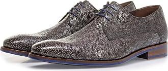 Floris Van Bommel Grauer Schnürschuh mit Metallic-Print, Business Schuhe, Handgefertigt