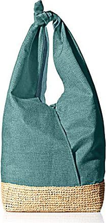 ále by Alessandra Womens Ipanema Linen and Raffia Tote, Teal, One Size