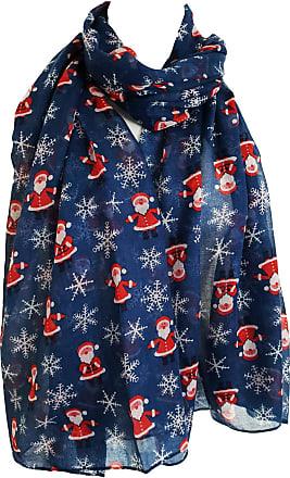 GlamLondon Christmas Santa Claus Scarf Snowflake Father Xmas Printed Womens Scarves (Blue)(Size:L)