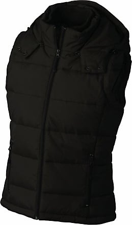 James & Nicholson Fashionable Ladies Quilted Vest with Detachable Hood (Small, Black)