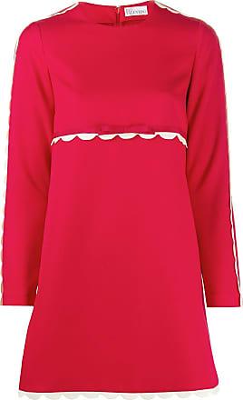 Red Valentino Vestido mangas longas com acabamento ondulado - Vermelho