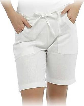 Tom Franks Ladies Womens Tom Franks Casual Linen Shorts Trouser Summer LN564 (14, White)