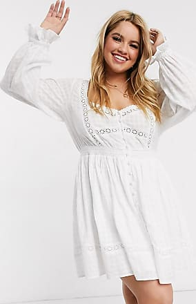 Asos Curve ASOS DESIGN Curve button through lace insert mini dress with elasticated waist in white