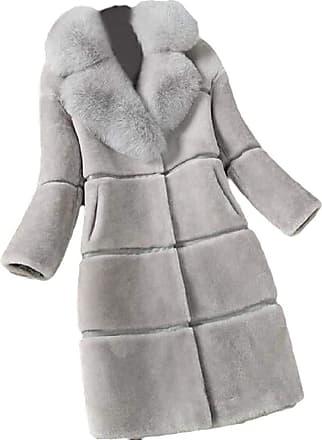VITryst Womens Mid Length Jacket Lapel Long Sleeve Warm Faux Fur Coat Overcoats Outwear Tops,Gery,3X-Large