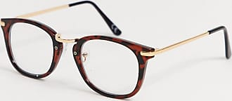 Asos square glasses in tort with gold detail and clear lenses-Brown