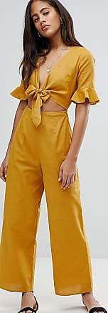 Asos Tall ASOS DESIGN Tall - Leinen-Jumpsuit mit Zierausschnitt und Schnürung-Gelb