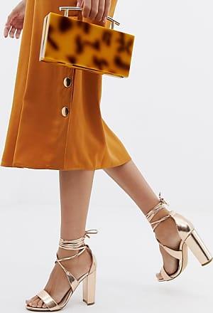 Glamorous Sandali con tacco largo allacciati alla caviglia oro rosa