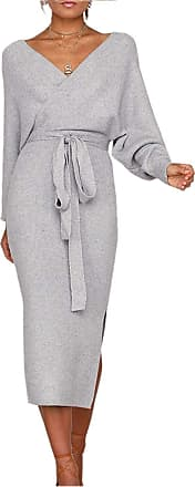 Yidarton Womens Jumper Dress Knitted Dress Sweater Dress Elegant V-Neck Backless Long Sleeve Tunic Dress with Belt (Style-3, XL)