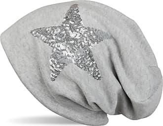 styleBREAKER Star Sequined Slouch Beanie, Slouch longbeanie, Silky, Women 04024067, Colour:Mottled Light Grey