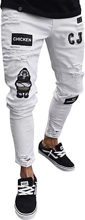 junkai Mens Hiphop Streetwear Jeans Ripped Stretch Zipper Trousers Distressed Holes Denim Sizes S-3Xl