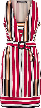 Shoulder Vestido Com Cinto Listrado Shoulder - Vermelho