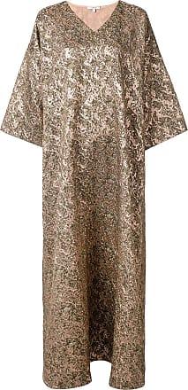 Layeur Vestido oversized decote em V - Marrom