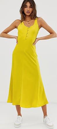 Whistles pippa satin slip midi dress-Yellow