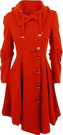 H&E Women Modern Single Breasted Irregular Lapel Hooded Pea Coat Red Large