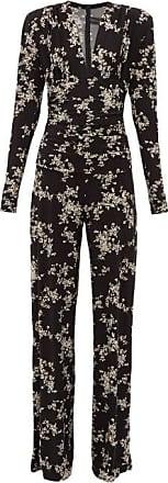 Norma Kamali Floral-print V-neck Wide-leg Jumpsuit - Womens - Black Print
