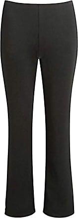 21Fashion Womens Stretchy Plain Bootleg Trousers Ladies Bootcut Pull On Work Bottom Pants Black (Length 27) UK 10