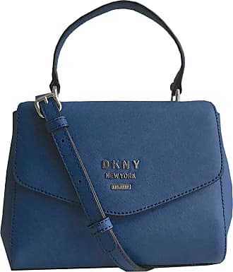 DKNY Whitney Mini Blue Leather Satchel Handbag with Removable Cross Body/Shoulder Strap