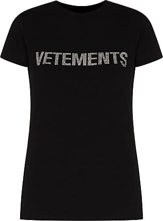 VETEMENTS Camiseta com logo de cristais - Preto