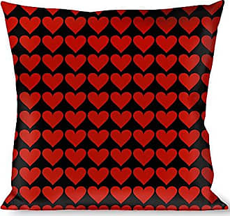 Buckle Down Pillow Decorative Throw Mini Hearts Black Red