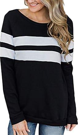 NPRADLA Women Casual Color Block Long Sleeve Pullover Tops Loose Tunic O-Neck Patchwork Sweatshirt Black