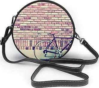 Turfed Vintage Bike Print Round Crossbody Bags Women Shoulder Bag Adjustable PU Leather Chain Strap and Top Zipper Small Handbag Handle Tote