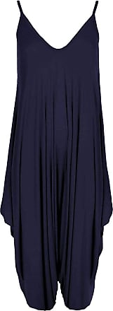WearAll Womens Lagenlook Strappy Baggy Harem Jumpsuit Dress Top Playsuit - Navy Blue - 16-18