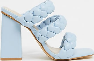 Z_Code_Z Exclusive Tasha vegan heeled mule sandals in pale blue plait