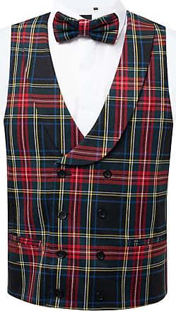 Dobell Mens Green Tartan Waistcoat Regular Fit Double Breasted Shawl Lapel-2XL (50-52in)