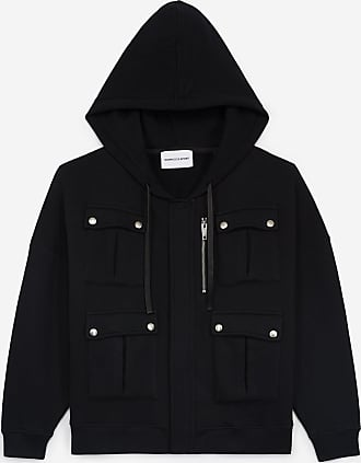 The Kooples Zipped black sweatshirt with hood and pockets - WOMEN