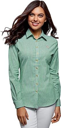 oodji Womens Cotton Shirt with Embroidery, Green, UK 4 / EU 34 / XXS