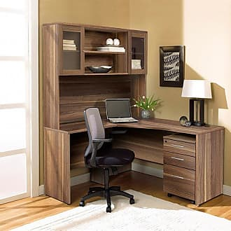 Unique Furniture 100 Collection Corner L-Shaped Desk with Hutch and Mobile File Cabinet Espresso - 1C100002LES