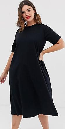 Asos Curve ASOS DESIGN Curve super oversized midi swing t-shirt dress-Black