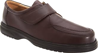 Roamers Mens Brown Leather E Fitting Touch Fastening Apron Leisure Shoe - Brown - size UK Mens Size 13