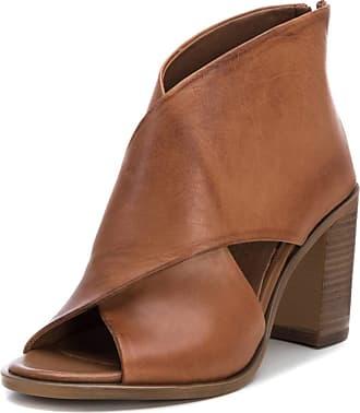 Carmela Peep Toe Ankle Boots - Leather - Camel - 67129 (4)