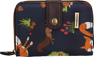 Swankyswans Freddie Fox & Squirrel Animal Print Bi-fold Wallet Navy Blue