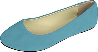 Vdual Women Ladies Slip On Flat Comfort Walking Ballerina Shoes Size UK 2.5-8 Light Blue
