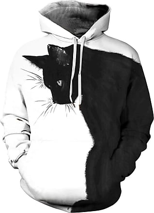 Ocean Plus Mens Colourful Sweatshirt with Hood Unisex Hoodie with Digital Print and Drawstring Long Sleeve Sweatshirt with Front Pocket (S (Chest: 108-128CM), Bl