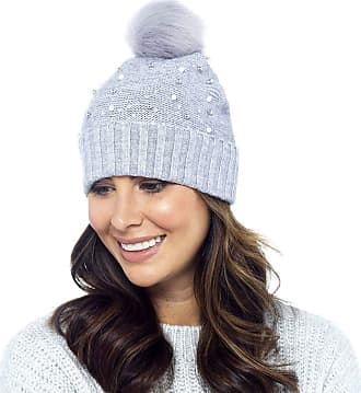 Foxbury Ladies Beaded Beanie Hat with Faux Fur Bobble Grey