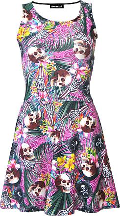 Insanity Tropical Floral Flowers Skulls and Crossbones Metal Print Sleeveless Skater Dress (M/L)
