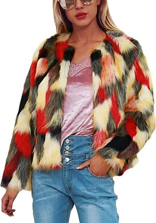 Yonglan Womens Jacket Cardigan Fluffy Multicolor Faux Fur Short Coat Overcoat Red XXL